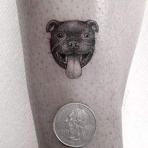 Cute Micro Dog Tattoo #FineLine #MicroTattoos #BlackandGrey #BangBangNYC #SanghyukKo #micro #blackwork