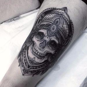 Ornamental skull by Flo Nuttall #FloNuttall #blackandgrey #neotraditional #ornamental #skull #bones #death #portrait #crown #gem #jewels #crown #teeth #tattoooftheday