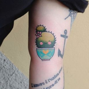 Cute cactus tattoo by Lou DC. #LouDC #kawaii #girly #cute #pinkwork #cactus