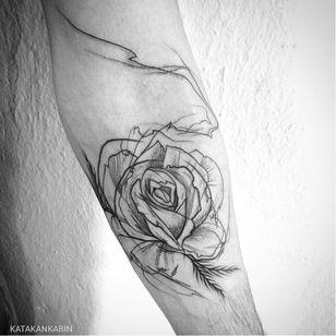 Rose tattoo by Katakankabin #Katakankabin #linework #sketch #abstract #rose