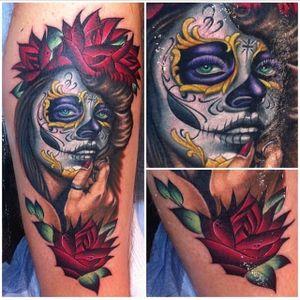 Phenomenal take on La Catrina by Megan Massacre (Instagram @megan_massacre). #color #LaCatrina #MeganMassacre #neotraditional #realism #roses