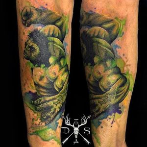 The Incredible Hulk watercolor tattoo by Danny Scott. #watercolor #abstract #DannyScott #Hulk #TheIncredibleHulk
