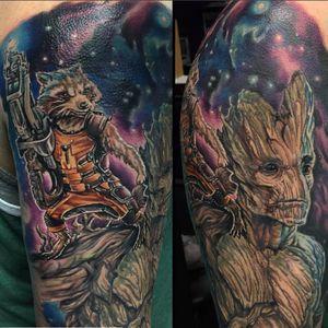 Rocket Raccoon perched on Groot's shoulder by Josh Bodwell (IG—joshbodwell). #Groot #GuardiansoftheGalaxy #JoshBodwell #nerdytattoos #portraiture #realism #RocketRaccoon