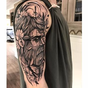Sketchy neo traditional tattoo by Jakob Holst Rasmussen #JakobHolstRasmussen #neotraditional #contemporary #sketch #monochromatic #monochrome