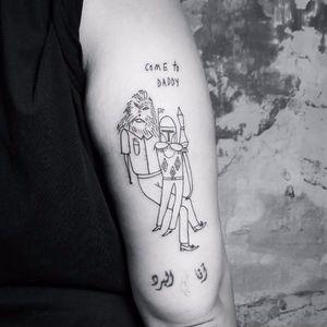 Star Wars tattoo by Bianka Szlachta #BiankaSzlachta #ignorantstyle #folk #naive #linework #minimalistic #starwars #chewbacca #bobbafett