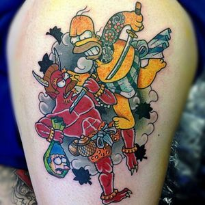 A Simpsons themed twist on the classic imagery of Irezumi from Zane Donellan's (IG—gooneytoons_str) collection. #Japanese #nerdy #newschool #Simpsons #traditional #ZaneDonellan