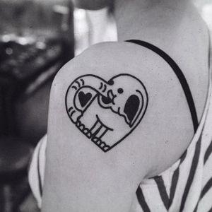 Elephant heart tattoo by Woohyun Heo #WoohyunHeo #elephant #love #heart (Photo: Instagram)