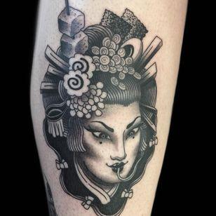 Tattoo by Wendy Pham #WendyPham #TaikoGallery #WenRamen #newtraditional #color #Japanese #mashup #portrait #noodles #ramen #ladyhead #egg #nori #tofu #foodtattoo #geisha
