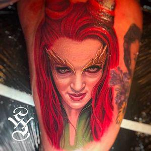 Uma Thurman as Poison Ivy. Rad color portrait tattoo by Steve Wimmer. #SteveWimmer #portraittattoo #realistic #colorportrait #umathurman #poisonivy #BATMAN