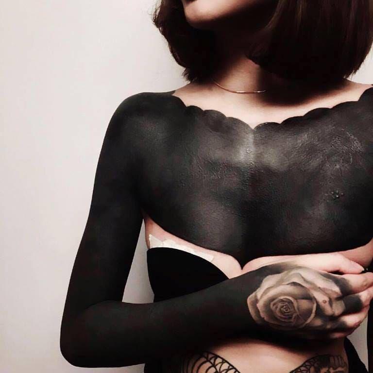 Daring blackwork by Chester Lee #ChesterLee #OrnamentalBlackworktattoos