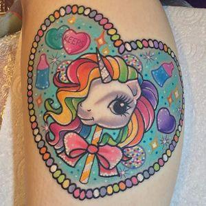 Unicorn tattoo by Sam Whitehead. #SamWhitehead #girly #cute #unicorn #sparkles #sparkly #glittery #heart