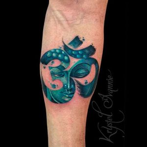 Watercolor and brushwork tattoo by Kystel Ivannie #KrystelIvannie #Watercolor #Brushstroke #Buddha #Om #Ohm #OmTattoo #spiritualtattoo