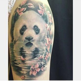 Panda and reflection by Sade Sonck (via IG -- metalheadgirl6666) #sadesonck #water #cherryblossoms #panda