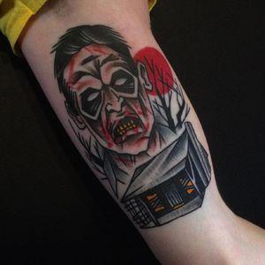 Deadite Ash Tattoo by Dan Gagné (IG—dan_gagne). #Ash #DanGagne #EvilDead #traditional