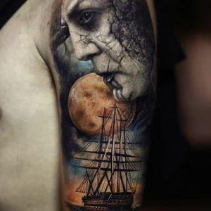 Pirates of the Caribbean: Dead Men Tell No Tales by Yomico Moreno  #YomicoMoreno #Yomicoart #PiratesOfTheCaribbean #deadmentellnotales #JavierBardem #realism #color #ship #moon #portrait #tattoooftheday