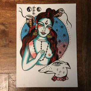 Witchy woman flash, by Elle Donlon. (via IG—elledonlon) #ElleDonlon #UpAndComing #Traditional #Weird