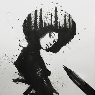An awesome portrait of a black woman with a forest inside of her afro by Sake (IG—sakestc). #afrocentric #fineart #landscape #Sake #silhouettes
