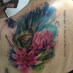 Floral frog back piece by Danielle Merricks. #frog #flower #lotus #watercolor #DanielleMerricks #animal