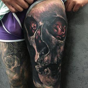 Fiery, by Sandry Riffard. (via IG—audeladureeltattoobysandry) #SandryRiffard #Skulls #Realism #Metal