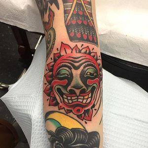 Bert Grimm Sun Tattoo by Maxwell Brown #sun #bertgrimm #bertgrimmsun #bertgrimmdesign #classicsun #traditional #MaxwellBrown