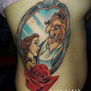 Tatuagem feita por Troy Slack #TroySlack #ABelaEAFera #beautyandthebeast #disney #colorida #colorful