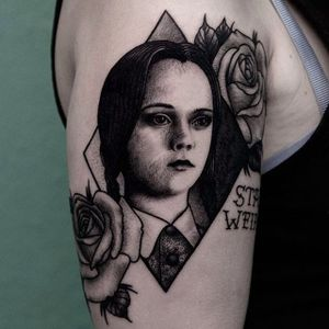 Wednesday Addams Halloween Tattoo by @Iljahummel #Wednesdayaddams #AddamsFamily #Halloween #Halloweentattoo