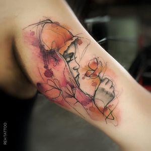#RenataHenriques #RehTattoo #brasil #brazil #brazilianartist #TatuadorasDoBrasil #aquarela #watercolor #sketch #colorido #colorful #woman #mulher #flor #flower