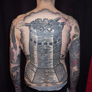 Fortress tattoo by Duncan X #DuncanX #medievalart #fortress #cannon #tower