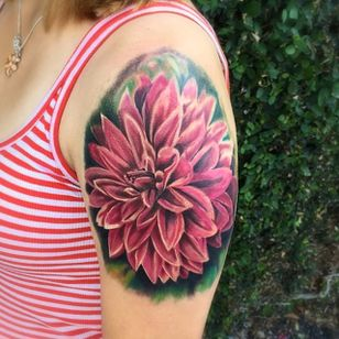 Color realism dahlia tattoo by Cal Tattoo. #dahlia #flower #realism #colorrealism #CalTattoo #floral #dahliaflower