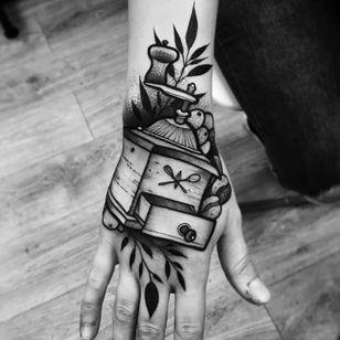 Coffee mill tattoo by Julia Szewczykowska #JuliaSzewczykowska #blackwork #neotraditional #coffeemill #coffee