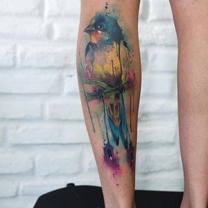 Gorgeous drippy bird, by Paulo Victor Skaz (via IG—skazxim) #watercolor #freeform #animal #creature #PauloVictorSkaz #colorful