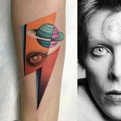 Bowie piece by Mariusz Trubisz #MariuszTrubisz #DavidBowie #color #eye #planet #bolt #tattoooftheday