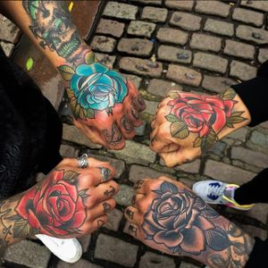 Hand rose tattoos by Matt Webb #MattWebb #rose #neotraditional #roses #hand
