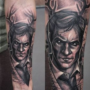 Sinister portrait tattoo. #KatiBerinkey #sinister #portrait #sketchtattoo #sketchstyletattoo