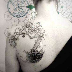 Tree tattoo by Marie Roura #MarieRoura #graphic #spiritual #tree #blackwork
