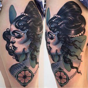 Fantasy creature tattoo by Emily Rose #EmilyRose #neotraditional #masterpiece #woman #fantasy #portrait #emilyrosemurray