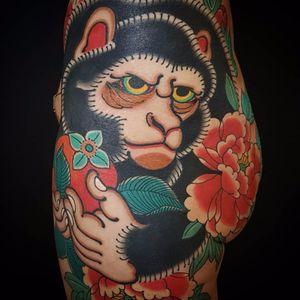 Japanese monkey by Raphael Tiraf #RaphaelTiraf #Japanese #traditional #mashup #monkey #peony #flowers #leaves #nature #color #tattoooftheday