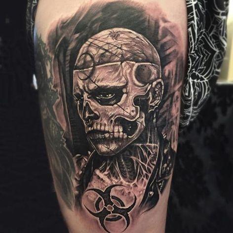 Zombie Boy in all of his undead glory as tattooed by Anrijs Straume. #AnrijsStraume #darkwork #dark #portrait #celebrities #ZombieBoy #blackandgrey