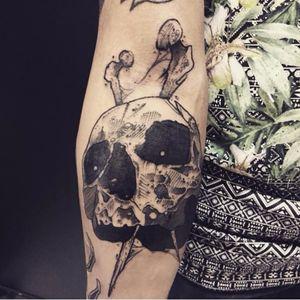 Skull tattoo by Kevin Plane #KevinPlane #sketchstyle #sketch #blackwork #skull #bone