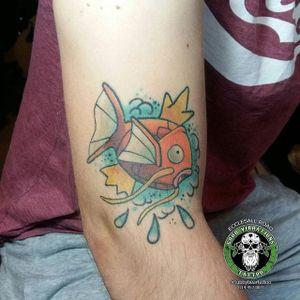 Magikarp Tattoo by Toby Burr #magikarp #magikarptattoo #pokemon #pokemontattoo #pokemontattoos #koi #koitattoo #koitattoos #fish #fishtattoo #TobyBurr