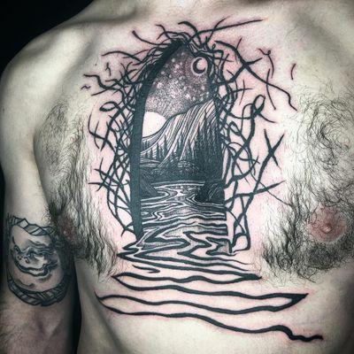 Tattoo by Noel'le Longhaul #NoelleLonghaul #linework #blackwork #dotwork #illustrative #nature #landscape #etching #door #river #water #forest #trees #moon #stars #light #mountains