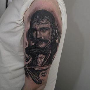 Bill The Butcher Tattoo by Edgar Ivanov #BillTheButcher #BlackandGrey #BlackandGreyRealism #BlackandGreyTattoos #PortraitTattoos #Realism #EdgarIvanov