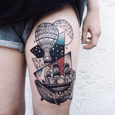 Jessica Svartvit #JessicaSvartvit #balloon #balloontattoo #balao #baleia #whale #barco #boat #navio #ship #pontilhismo #dotwork #geometric #geometrica