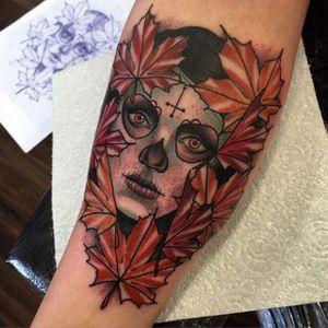 Dia de los Muertos tattoo by Danny Duggan. #sugarskull #dayofthedead #skull #neotraditional #skullcandywoman