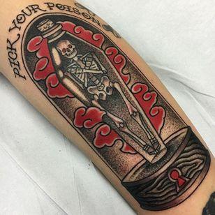 Poison Tattoo by Griffen Gurzi #poison #poisontattoo #traditional #traditionaltattoo #oldschooltattoo #oldschooltattoos #GriffenGurzi #dotwork