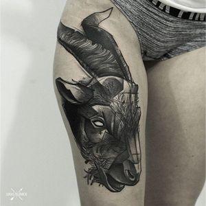 Blackwork Goat Tattoo by Łukasz Zglenicki #goat #goattattoo #goattattoos #blackworkgoat #blackworkgoattattoo #blackworkgoattattoos #animaltattoo #blackink #blackworktattoos #blackwork #LukasZglenicki