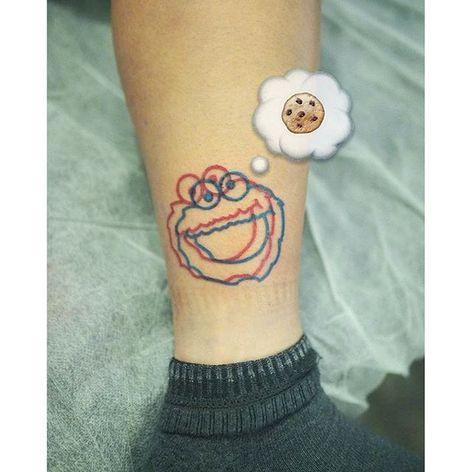 Cookie Monster anaglyph tattoo by Marcus Yuen. #MarcusYuen #anaglyph #cartoon #3d #popculture #sesamestreet #cookiemonster