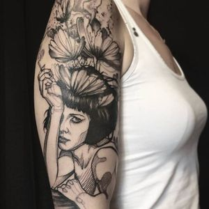 Contemporary tattoo by L'oiseau #Loiseau #contemporary #graphic #sketch #monochromatic #monochrome #flower