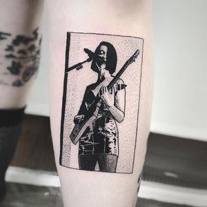 St. Vincent tattoo by Charley Gerardin #charleygerardin #musictattoos #blackwork #dotwork #illustrative #music #singer #guitar #stvincent #lady #portrait