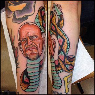 Stone Cold Steve Austin as a literal Texas rattlesnake. Tattoo by Pete Larkin #SteveAustin #StoneCold #StoneColdSteveAustin #wrestling #WWF #WWE #rattlesnake #PeteLarkin